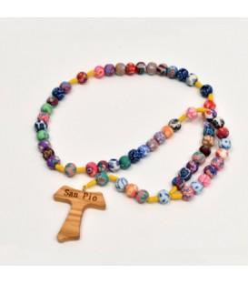 Rosario colorato con scritta Padre Pio