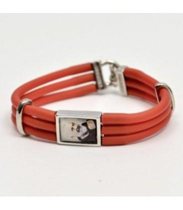 Bracelet en caoutchouc rouge et celeste