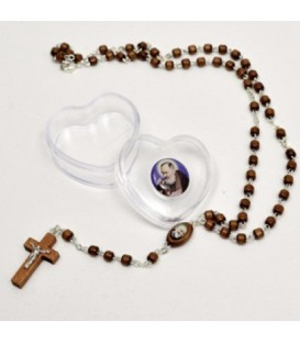 Padre Pio Rosary with heart-shaped pouch