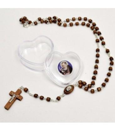 Padre Pio Rosaire avec étui en forme de coeur