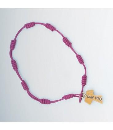 Pilgrim bracelet Cord purple, yellow, green