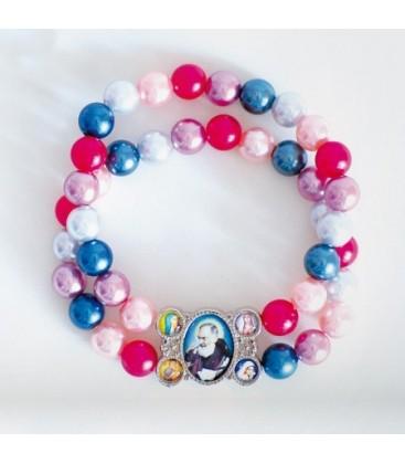 Glass bracelet on double strand Multicolor