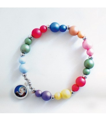 Pulsera de resina multicolor
