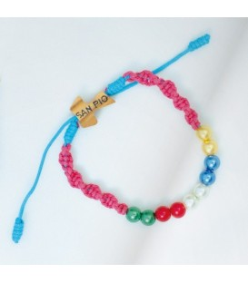 Children's Braided bracelet Sliding green, Fuchsia