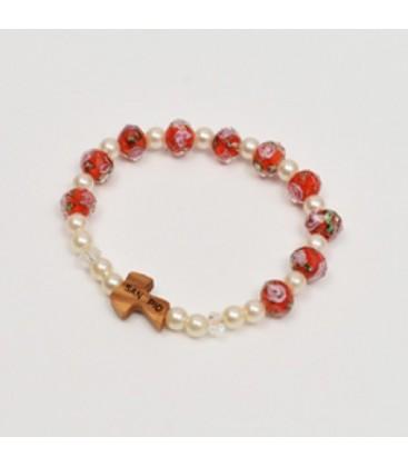 Bracelete de cristal com rosa