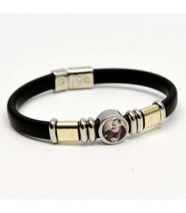 Bracelet caoutchouc avec image de Padre Pio