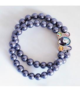 Glass bracelet on double strand Grey