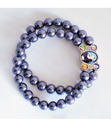 Glass bracelet on double strand Grey