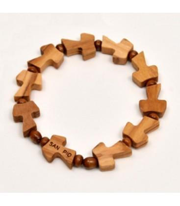 Bracciale legno con dieci Tau