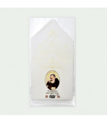 Padre Pio with embroidered handkerchief