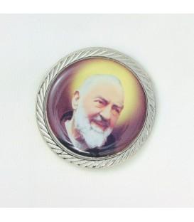 El Padre Pío de aluminio adhesiva