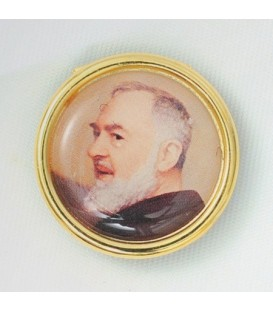 Coche de la etiqueta engomada del Padre Pío