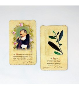 Padre Pio holy card with Olive Leaf