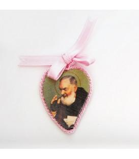 Corazón de seda color rosa
