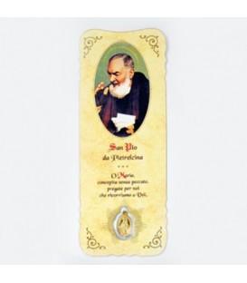 Marcador con medalla de Padre Pio