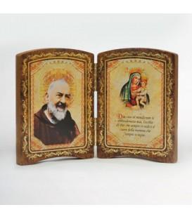 Kleine Holz Diptychon mit Madonna
