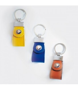 Padre Pio Keychain leathercolored   Yellow, Blue, Brown