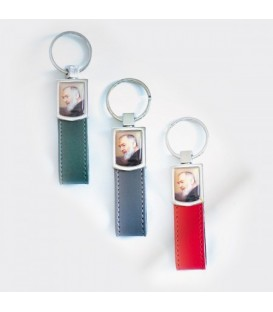 Padre Pio Keychain Haut Grün, grau, rot