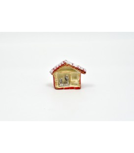 MAGNET NATIVITY ' SILVER IN STABLE OF BAKED PAINTING