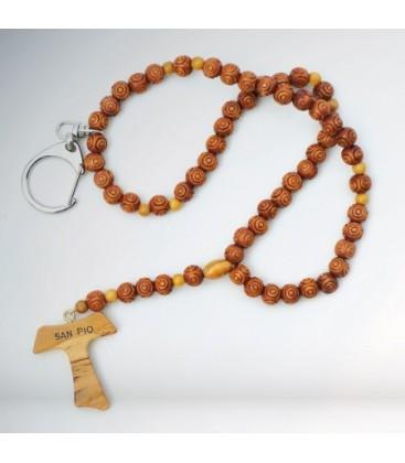 Portachiavi di Padre Pio  Rosario Legno