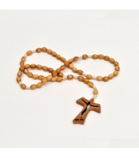 Rosary in olive wood Tau with lace pattern.