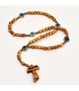 Rosário de madeira de Oliveira e cruz celta