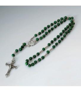 Rosario Legno Verde, Blu con immagine di Padre Pio