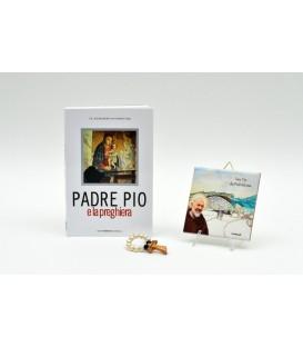 """PROMOZIONE """"PADRE PIO E LA PREGHIERA""""+MATTONELLA 10x10 + DECINA PERLE E CRISTALLO"""