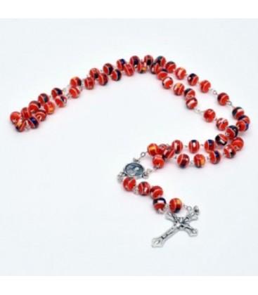 Corona del  Rosario con grani in  Vetro e  immagine di Padre Pio