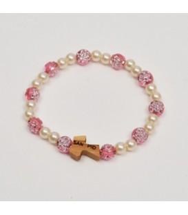 Bracciale perle con rosa e Tau