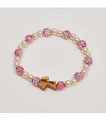 Pulsera de perlas con rose y Tau
