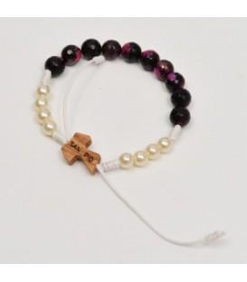 Semi-precious stones bracelet with Tau